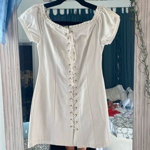 Boujee Off the Shoulder Lace Up Dress